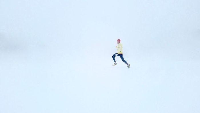 course sous la neige