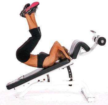 levée de jambes sur banc à abdos